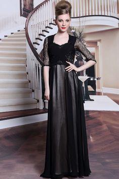Robe de soiree noire longue dentelle