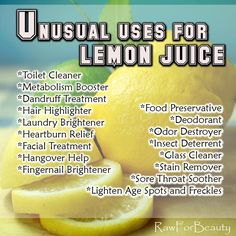 Rawforbeauty: Unusual Uses for Lemon Juice