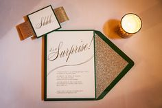 Philippa's Surprise Party Invitation by Lindsay Landman Events. Photo by Roey Yohai Photography #LLEvents #LindsayLandmanPaper #customstationery #surprise #party