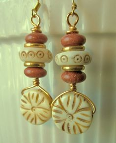Gold wire cream/brown ceramic beads, Goldstone and gold discs dangle earrings. Please visit my ebay page to see all of my earrings for sale: www.ebay.com/...?::