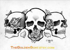 See no evil, Hear no evil, Speak no evil skull tattoo design (13)