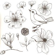 Bird and flowers.