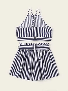 To find out about the Girls Halter Top & Striped Tie Front Shorts Set at SHEIN, part of our latest Girls Two-piece Outfits ready to shop online today! Girls Fashion Clothes, Girl Fashion, Fashion Outfits, Girl Clothing, Two Piece Outfit, Two Piece Skirt Set, Criss Cross Top, Black And White Fabric, Belted Shorts