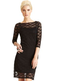 NWT CASUAL COUTURE by GREEN ENVELOPE 3/4 SLEEVE BLACK LACE OVERLAY DRESS M #CasualCouture