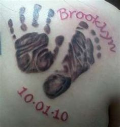 Getting daughters footprint with the saying It was then I carried you!