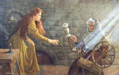 """""""The Spinning Wheel"""" by Ruth Sanderson Original oil from the book, The Sleeping Beauty by Jane Yolen."""