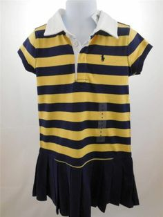 $25.00-RALPH LAUREN Girl's Dress Polo Striped Rugby Pleated Skirt Size 5 NWT