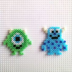 Mike and Sulley - Monsters, Inc. hama beads by hadavedre —- for Red Melty Bead Patterns, Pearler Bead Patterns, Perler Patterns, Beading Patterns, Perler Bead Templates, Diy Perler Beads, Perler Bead Art, Pearler Beads, Pixel Beads