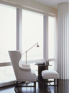 sitting area - white wingback chair