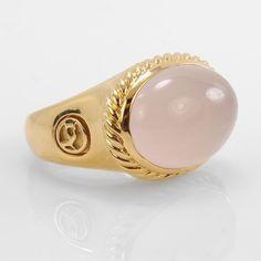 """David Yurman Ladies  18k Yellow Gold """"Albion"""" Rose Quartz Fashion  Ring"""