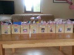 Hen do party bags decorated with a photo of each hen and the bride.