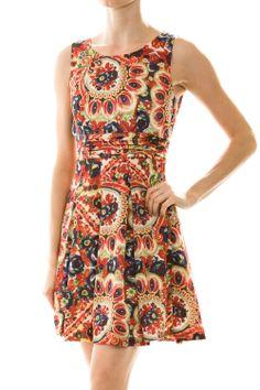 Unique Print Sleeveless Skater Dress