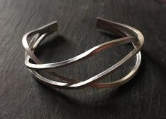 Statement Cuff Sterling Silver Abstract Design Silver Wire