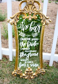 ornate mirror wedding menu