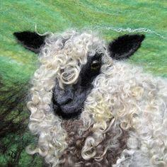 original handmade felted Curious by WoolAndFibreArt Wet Felting Projects, Needle Felting Tutorials, Sheep Crafts, Felt Crafts, Needle Felted Animals, Felt Animals, Felt Wall Hanging, Sheep Art, Felt Pictures