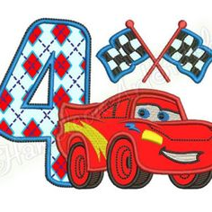 Red Racing Car, 4_st birthday, machine embroidery applique design, 1 size, 5x7 hoop, File INSTANT DOWNLOAD