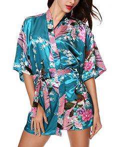6498e358fb Avidlove Women s Kimono Robes Peacock and Blossoms Silk Nightwear Short  Style - http