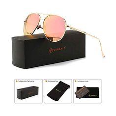 5b26b9bf2e8 SUNGAIT Women s Lightweight Oversized Aviator sunglasses - Mirrored  Polarized Lens