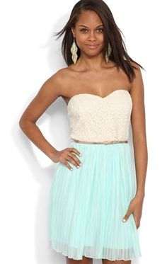 Deb Shops #Mint #Strapless #Dress with #Daisy #Lace Bodice and Pleated Chiffon Skirt $45.00