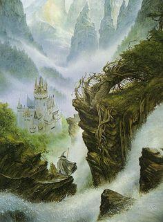acidadebranca:    improvisionario:  This looks like Rivendell    Best Middle-earth illustrator. Hands down.  Artist: John Howe    Architecture & Fantasy   John Howe   180