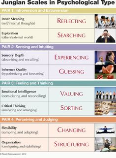 What type are you on the Myers-Briggs? Jungian scales in psychological type: Introvert vs Extrovert, Sensing vs Intuiting, Feeling vs Thinking, Judging vs Perceiving