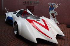 """[Image] """"Mach"""" ran at Toyota Museum / Replica model based on Nissan's introductory race machine """"Saurus"""" Watch Speed Racer Characters, Classic Sports Cars, Classic Cars, Speed Racer Car, Car Places, Classic Sci Fi, Exhibition Booth Design, Transporter, Hot Rides"""