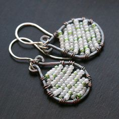 Handmade wire wrapped seed bead earrings by MimiMicheleJewelry