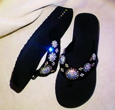 Be in style this summer with these western cowgirl bling concho flip flops. Sizes 5/6,  9/10   $35.00   www.pamperedcowgirl.com