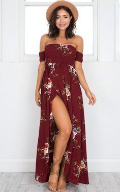 Boho Off shoulder Beach Dresses Floral Print Chiffon Maxi – Simple Craze