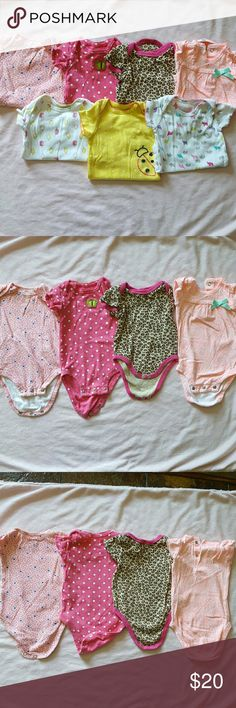🐘0-3/3 Mons 7 Super Cute Baby Girl Onesie Bundle Leopard print says 6/9 but runs small, see photos of it next to the others  💦Clothes washed in dye free detergent and layed flat to dry. So they may be wrinkled or the colors not as bright.  💲Bundle and save with other cute baby girl items in my closet 🚫Sorry, No Trades🛇 AND LASTLY, HAPPY POSHING 😊😊😊 Carter's One Pieces Bodysuits