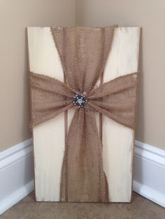 Burlap cross wood plaque by TheSassySunshine on Etsy