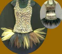 Girls Dance Tutus Skate Stage Costume Cat Jungle Theme | eBay