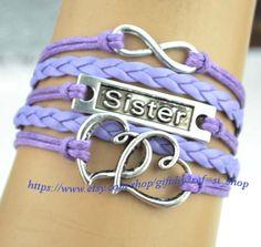 Sister Bracelet  heart to heart Bracelet infinity by giftdiy, $4.99