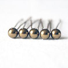 Antique Brass Pearl Wedding Hair Pins. Set of 5 by PinkTreeStudios, £6.00