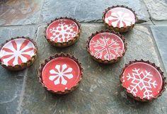 Bottle Cap Christmas Magnet