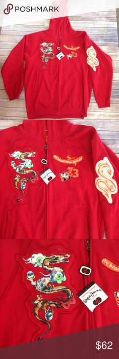 NWT Men's 3XL PePeJeans Hoodie Red Dragon Full Zip 75% Cotton 25% Polyester.  Half of retail tag has been torn off.  Style name:  Merrick.  Chest: 58 in., Length: 33 in., Sleeve length: 35 in. (Shoulder to end of cuff).  Shelf #A119 Pepe Jeans Shirts Sweatshirts & Hoodies
