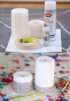 DIY Glitter Candle!Great and easy way to spice your candle up a notch!