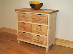 Oak storage chest of drawers / cabinet made with rustic wine boxes - Handmade Recycled Furniture, Diy Furniture, Plywood Furniture, Modern Furniture, Furniture Design, Wine Crate Table, Handmade Bedside Tables, Standing Wine Rack, Wine Racks