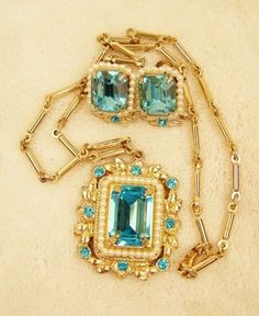 This is like my Grandmother's that I have.   Coro Necklace Earrings Vintage Art Deco Coro Pegasus Aqua Aquamarine Demi Parure