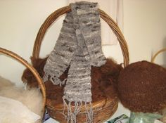 Wool Scarf 'Miss Two Tone' Primitive Spun Coat Scarf by sashmerebunny on etsy
