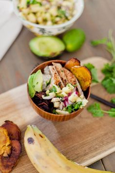 Caribbean Jerk Chicken Bowl with Pineapple Salsa and Fried Plantains