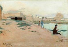 """34001728. RUSIÑOL I PRATS, Santiago (Barcelona, 1861 – Aranjuez, Madrid, 1931). """"Mallorca. Moll del Junquet"""". Óleo sobre lienzo. Firmado en el ángulo inferior izquierdo. Con marco de finales del siglo XVIII. Medidas: 65 x 94 cm; 92 x 120 cm (marco)."""