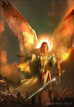 Engel van de Heer met zwaard in de hand