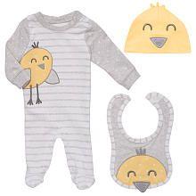 Koala Baby Neutral 3 Piece Gray/Yellow Bird Layette Set with Footie, Hat and Bib