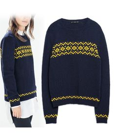 Women's sweaters, Clothing, Women, Women's sweaters, European jacquard sweater pattern knit tops ghl2708, european, clearance knits