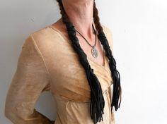Black Leather Braid Wraps with Fringe, Long Hair Ties, Native American, Handmade, Powwow, Festival, Hippie, Mountain Man, Rendezvous