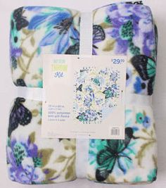 "No Sew Fleece Throw 72"" - Blue Butterfly Floral"