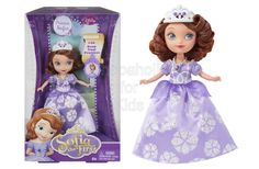 "Disney Sofia The First Sofia 5-inch Doll Code:  01848 To order: http://www.shopaholic.com.ph/#!/Disney-Sofia-The-First-Sofia-5-inch-Doll/p/52401266 Princess Sofia looks very royal in her signature purple party gown! The skirt of her full-length dress sparkles with a detailed and colorful flower print. She accessorizes with a white ""pearl"" necklace with a purple jewel. And atop her thick red hair, she wears a regal white and purple tiara."