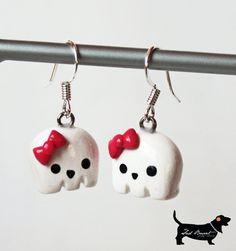 Kawaii Polymer Clay Girl Ghost Earrings  Halloween by TheSadBasset, $20.00