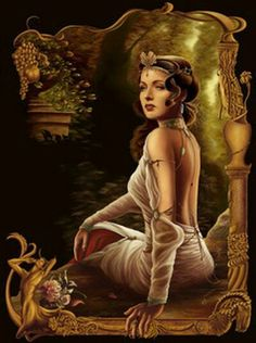 Hestia-greek goddess of fire. Sitting but facing you w/a small fire in front of her.